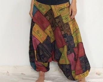 Super Patchworks Hippie Harem Pants, Yoga Pants, Drop Crotch Pants, Baggy Pants with Om patterned (HR-522)