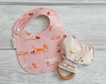 Cat Baby Bib and Teether Gift Set / Drool Bib / Wooden Bunny Ear Crinkle Teether / Teething Bib / Teething Toy / Cat Lover / Kittens