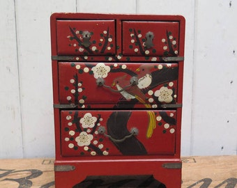 Vintage Asian Chest/Box w/ Drawers hand painted bird on Red Jewelry/ Desk Organizer
