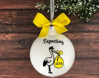 Expecting Ornament, We're Expecting Christmas Ornament, Stork Ornament, Were Expecting Baby Ornament, Pregnant Ornament, Pregnancy Ornament
