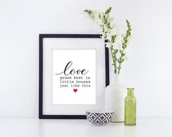 Love Grows Best in Little Houses | Farmhouse Decor | Little Houses Sign | Love Grows Best Sign | Housewarming Gift | New Home Gift | Decor