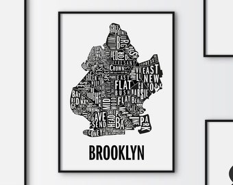 Brookyln Map, Graphic art, USA, Black and White Art Typography Poster, New york Poster, wall art, Brookyln Poster, NYC Print, NYC Art