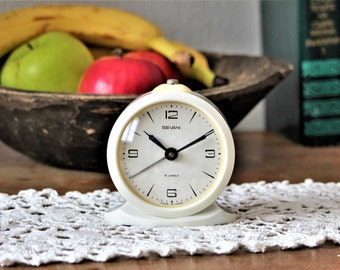 White Mechanical Clock - Wind Up Clock Sevani - Vintage Alarm Clock - Old Clock Made in Armenia USSR - Retro Clock - Bedside Clock