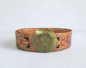 vintage moroccan belt / bohemian wide leather belt / hand painted belt with large round brass buckle / womens one size fits most