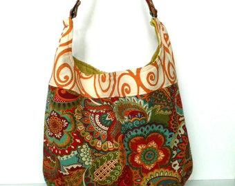 Slouch Bag, Shoulder Bag, Everyday Cloth Handbag, Canvas Bag, Hobo Purse,  Butterscotch Swirl, Puparoos