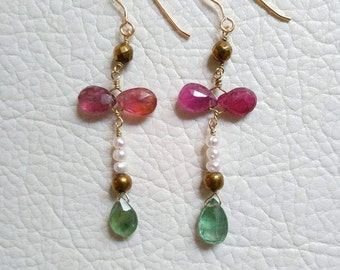 Tourmaline, pearl and pyrite earring, silver goldplated
