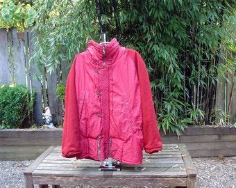 Vintage Men's Italian Red Ski Jacket Designer Massimo Osti Boneville Collection CP Company Italian 46 US Small-Medium 1980's