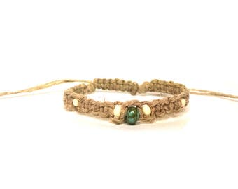 Glass Turquoise and Bone Seed Beaded Adjustable Hemp Bracelet