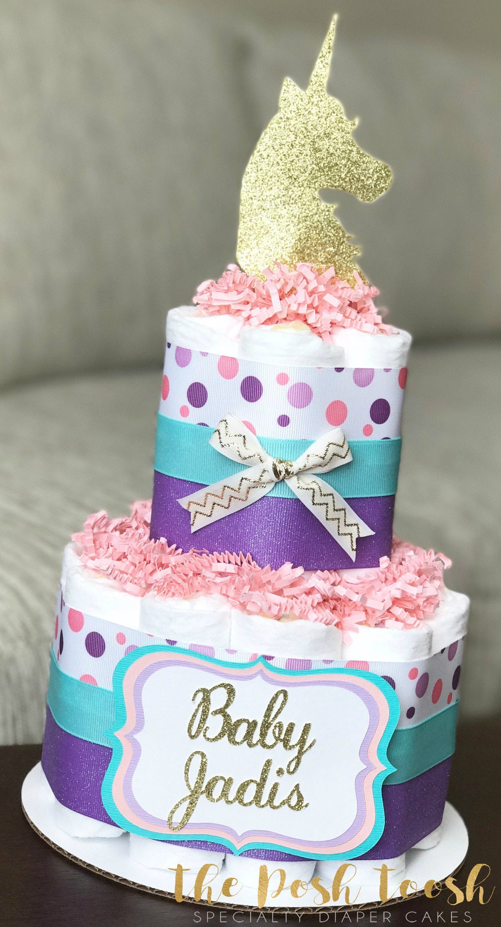 Unicorn Diaper Cake Baby Shower