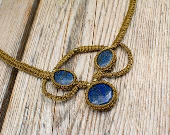 Macrame necklace FREE SHIPPING! Lapis Lazuli Boho