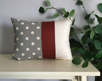 Decorative Pillow Cover, Color Block Pillow, Pillow with Burgundy Stripe and Polka Dot Pattern