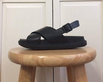 Vegan Leather Black Sandals