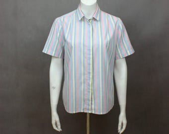 Colorful Shirt Stripes - Colorful Stripes - Oxford Shirt - Striped Colorful Linen - Shirt Summer - Pastel Shirt - Vintage Shirt - 80s Shirt