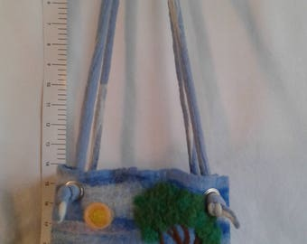 Handmade wet felted purse , with dry felted details.