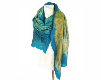 Felt Scarf, Blue Scarf, Felt Wrap, Wool Scarf, Spring Scarf, Wool Shawl Wrap, Wool Silk Scarf, Merino Wool Scarf, Cobweb Felt Scarf