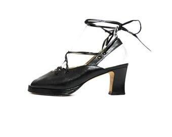 1990s Charles David Black Leather Ankle Tie Platforms