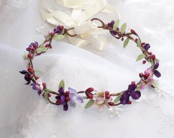 burgundy flower crown, floral headband, eggplant wedding, floral hair vine, burgundy headband, purple flower crown, red flower crown