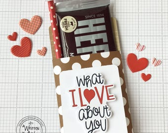 Fathers Day Gift Idea / Candy Bar Wrap & Love Note/ Hershey Bar/ Candy Bar Wrappers / What I LOVE About You/ DIY Gift for Dad/Candy Bar Wrap