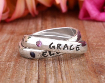 Family Name Ring With Birthstones Ring for New Moms and Grandmothers. Add a Child's name with their birthstone. By Nelle and Lizzy