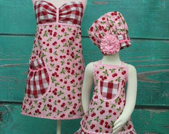 Mother/Daughter Matching Aprons - Pink & Red Cherry Matching Aprons