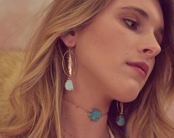 TURQUOISE DREAMS EARRINGS /// Rose Gold & Gold