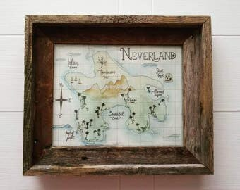 Neverland, 8x10 Art Print, Watercolor and Ink, Peter Pan Nursery, Nursery Decor, Baby Registry, Map Prints, Children's Playroom Artwork