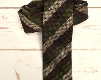 Tweed Silk Tie - Vintage Striped Tie - Vintage Skinny Tie - 1970s Necktie - Vintage Menswear - 70s striped Tie