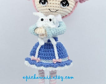 PATTERN: Alice in Wonderland and White Rabbit Crochet Amigurumi Dolls