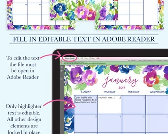 2017 Desk Calendar Flowers, 2017 Calendar Kit, 2017 Monthly Calendar Printable, Notes Page Printable,Weekly To Do List,2017 Desktop Calendar