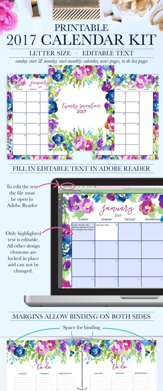 Blank Calendar Kit : Desk calendar flowers kit monthly