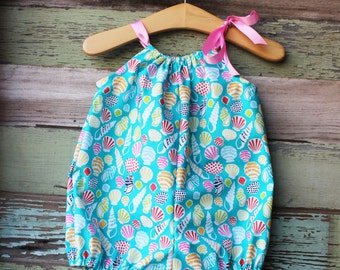 Seashell Bubble Romper, beach Sunsuit, vacation outfit, coming home outfit, baby beach clothes, summer, turquoise, nautical baby shower gift