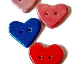 Heart shaped button, clay heart button, ceramic heart button, porcelain button, individual heart button, needlecraft button, handmade heart