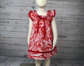 2T Red Hawaiian Dress, Toddler Hawaiian Dress, Tropical 2T Dress, Summer Toddler Dress, 2T Summer Dress