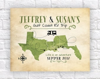 Custom RV Travel Map, Retirement Gift, Van Living, Motor Home, Gulf Coast Travel, Texas, Louisiana, Florida Map, Winnebago, Camper, FL WF534