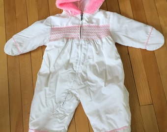 Vintage 1980s Baby Infant Girls White Pink Smocked Fur Snowsuit! Size 6 months