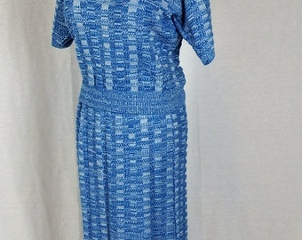 Beautiful 1960s Womens Vintage Two-Piece Knit Skirt and Top Set - Blue with White Lace - Excellent Condition
