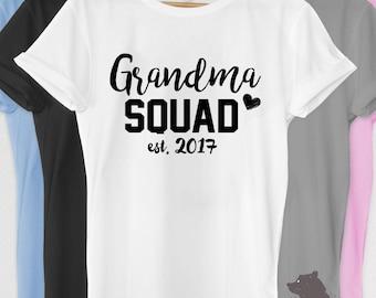 Pregnancy Announcement Shirt Grandma Squad Shirt Tshirt V-neck Tank T-shirt Tee Grandparents Reveal est. 2017 Baby Shower Nana Mom-Mom Nonna