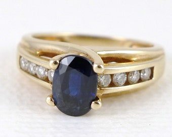 Gold Sapphire Ring, 14K Gold Sapphire Diamond Ring, Vintage Gold Sapphire And Channel Set Diamond Ring