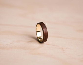 18K Solid Yellow Gold Liner in a Santos Rosewood Bentwood Ring