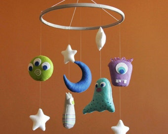 Baby mobile Space nursery mobile Space mobile Monsters nursery Baby mobile boy Monsters mobile baby Aliens mobile Crib mobile Baby boy mobil
