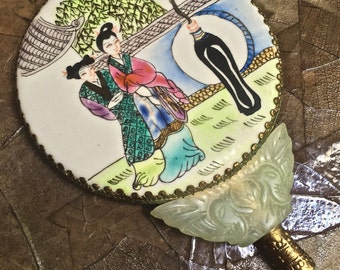 mirror, Antique, Chinese, FAMILLE ROSE, Porcelain, **New Sale**  Larger Size, Nephrite Jade, Hand-held, gold tone embossed metal, RARE