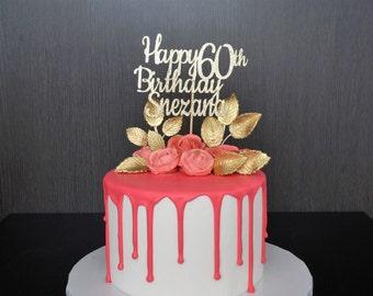 Any Name Any Age Happy Birthday Cake Topper, Birthday Cake Topper, Custom Birthday Cake Topper, Birthday Party Decor, 60th Birthday