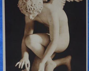 Art Emmanuel Fremiet Winged Cupid Offers Rose to Butterfly Sculpture Early 20th Century Postcard Made France