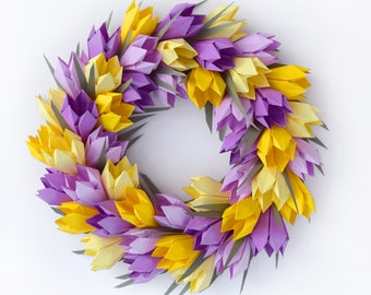 Yellow Purple Tulip Easter Spring Wreath,  Mother's Day Wreath, Easter Wreath