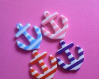 Cute kawaii striped anchor decoden Deco diy charm  cabochons  4 pcs---USA seller