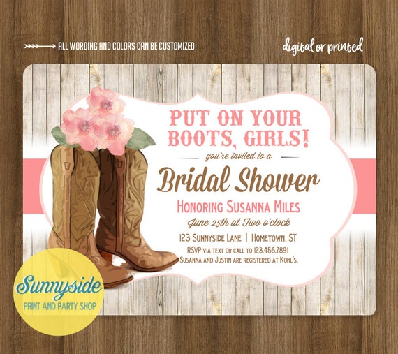 Cowgirl Boots Bridal Shower Invitation // Country Western