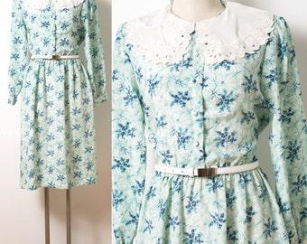 Vintage 80s Dress, Vintage dress, Vintage Blue Dress, Vintage floral dress, Bib Collar dress, Blue floral dress, cut out dress- M/L