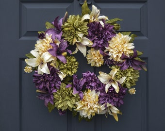 Gorgeous Wreath | Dahlia & Lily Wreath | Front Door Wreaths | Spring Wreath | Housewarming Gift | Outdoor Wreath | Wreath