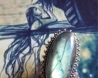 Love at First Sight~Gothic Medieval Sorcery Bohemian Vampire Druzy Labradorite 925 Sterling Silver Gemstone Statement Boho Ring(Size 8)