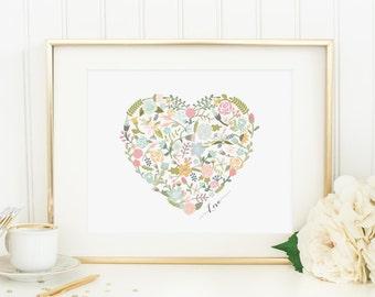 Heart Printable Floral Heart Print Heart Wall Art Love Print Heart Nursery Decor Floral Nursery Wall Art Aqua and Pink Nursery Art Flowers